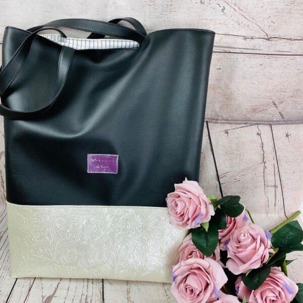 Ženska nakupovalna torba SWCC 03, črna biserna bela